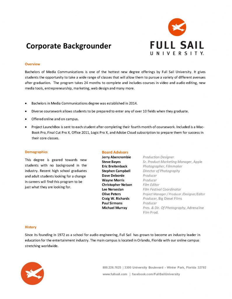 Full Sail Backgrounder